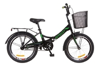 """Велосипед Formula SMART 14G 20"""" St черно-зеленый с багажником и корзиной 2018"""