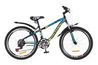 "Велосипед Discovery FLINT AM 14G DD 24"" St черно-салатно-синий 2018"