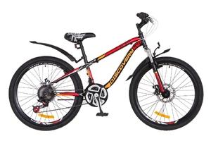 """Велосипеды Discovery, Велосипед Discovery FLINT AM 14G DD 24"""" St черно-оранжево-красный 2018"""
