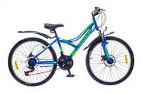 "Велосипеды Discovery, Велосипед Discovery FLINT AM 14G 24"" DD St сине-зелено-белый"