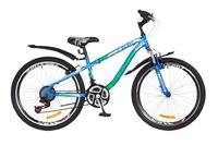 """Велосипед Discovery FLINT AM 14G Vbr 24"""" St сине-бело-зеленый с крылом 2018"""