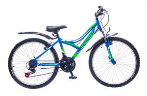 "Велосипеды Discovery, Велосипед Discovery FLINT AM 14G Vbr 24"" St сине-зелено-белый"