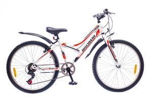 """Велосипеды Discovery, Велосипед Discovery FLINT 14G Vbr 24"""" St бело-черно-оранжевый"""