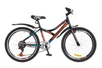"""Велосипеды Discovery, Велосипед Discovery FLINT 14G Vbr 24"""" St черно-оранжево-синий с крылом 2018"""