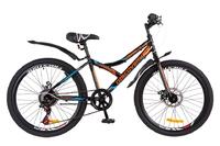 """Велосипеды Discovery, Велосипед Discovery FLINT AM 14G DD 24"""" St черно-оранжево-синий 2018"""