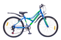 "Велосипеды Discovery, Велосипед Discovery FLINT 14G Vbr 24"" St сине-зелено-белый"