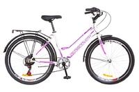 """Велосипед Discovery PRESTIGE WOMAN Vbr 14G 26"""" бело-фиолетовый с багажником зад, с крылом St 2018"""