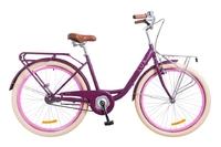 "Велосипед Dorozhnik LUX PLANETARY HUB 14G 26"" сливовый с багажником 2018"