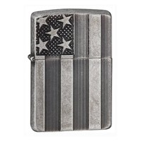 Зажигалка Zippo U.S. Flag Armor Antq Slvr Plate
