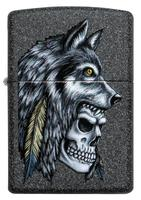 29863 Зажигалка Zippo 211 Wolf Skull Feather Design