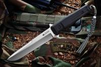 Kizlyar Supreme KE TRI8P Нож туристический Trident (кратон) сатин AUS8, черные ножны