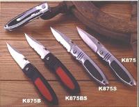 K875 Нож складной, рукоятка металлическая с резиновыми вставками, лезвие прямое