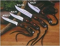 K4J1 Нож разделочный в кожаном чехле, рукоятка деревянная