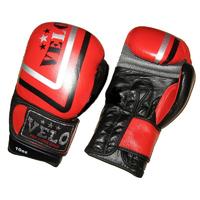 Перчатки для бокса, Перчатки боксерские Кожа VELO Red 12oz