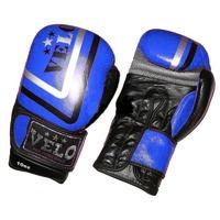 Перчатки для бокса, Перчатки боксерские Кожа VELO Blue 12oz