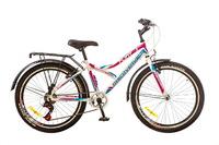 """Велосипед Discovery FLINT 14G Vbr 24"""" St бело-сине-розовый с багажником 2017"""