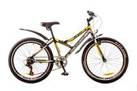 """Велосипед Discovery FLINT 14G Vbr 24"""" St черно-бело-желтый  с крылом 2017"""