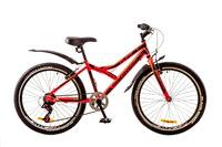 """Велосипед Discovery FLINT 14G Vbr 24"""" St красно-черный  с багажником с крылом 2017"""