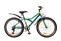 """Велосипед Discovery FLINT 14G Vbr 24"""" St сине-черно-зеленый с крылом 2017"""