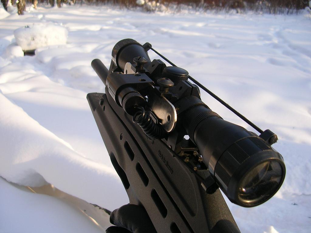 PCP с прицелом готова к стрельбе